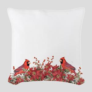Holly, Poinsettias and Cardina Woven Throw Pillow