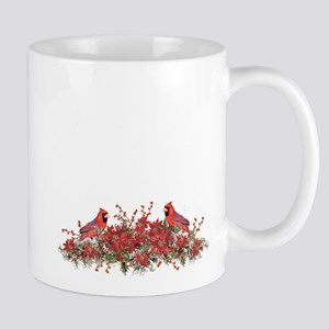 Holly, Poinsettias and Cardinals Mugs