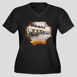 Cheers Openi Women's Plus Size V-Neck Dark T-Shirt