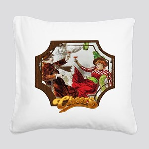 Cheers Opening Saloon Girl Square Canvas Pillow