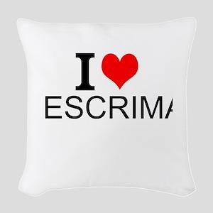 I Love Escrima Woven Throw Pillow