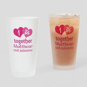 1st Anniversary Love Hearts Drinking Glass