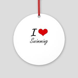 I Love Swimming Round Ornament