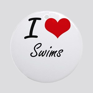 I love Swims Round Ornament