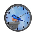 Bluebird on Birdbath Wall Clock