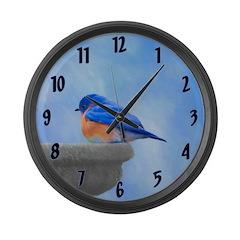 Bluebird on Birdbath Large Wall Clock
