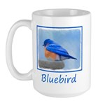 Bluebird on Birdbath 15 oz Ceramic Large Mug