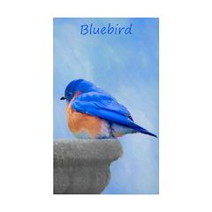 Bluebird on Birdbath Sticker (Rectangle 10 pk)