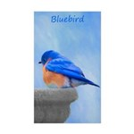 Bluebird on Birdbath Sticker (Rectangle 50 pk)