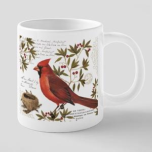 Modern Vintage Winter Woodland Cardinal Mugs