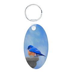 Bluebird on Birdbath Keychains
