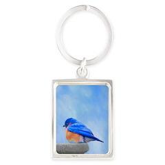 Bluebird on Birdbath Portrait Keychain
