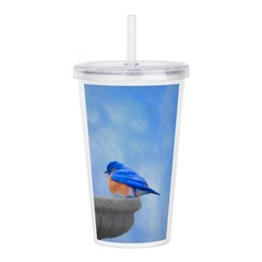 Bluebird on Birdbath Acrylic Double-wall Tumbler