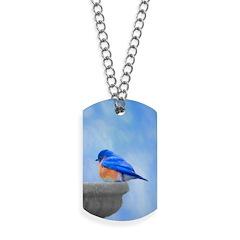 Bluebird on Birdbath Dog Tags