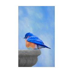 Bluebird on Birdbath Sticker (Rectangle 50 pk)