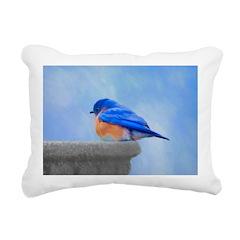 Bluebird on Birdbath Rectangular Canvas Pillow