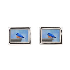 Bluebird on Birdbath Rectangular Cufflinks