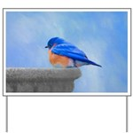 Bluebird on Birdbath Yard Sign
