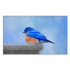Bluebird on Birdbath Sticker (Rectangle)