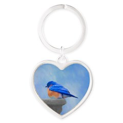 Bluebird on Birdbath Heart Keychain