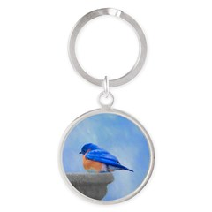 Bluebird on Birdbath Round Keychain