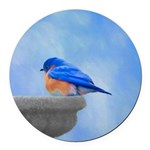 Bluebird on Birdbath Round Car Magnet
