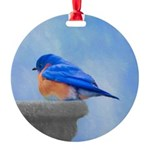 Bluebird on Birdbath Round Ornament