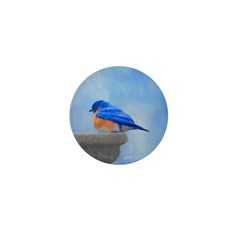 Bluebird on Birdbath Mini Button (100 pack)