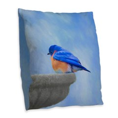 Bluebird on Birdbath Burlap Throw Pillow