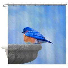 Bluebird on Birdbath Shower Curtain