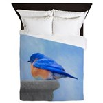 Bluebird on Birdbath Queen Duvet
