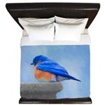 Bluebird on Birdbath King Duvet