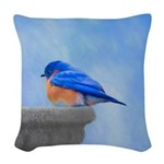 Bluebird on Birdbath Woven Throw Pillow