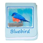 Bluebird on Birdbath baby blanket