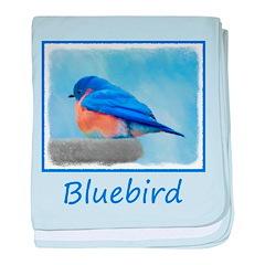 Bluebird on Birdbath baby blanket