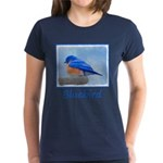 Bluebird on Birdbath Women's Dark T-Shirt
