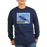 Bluebird on Birdbath Long Sleeve Dark T-Shirt