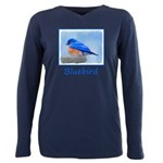 Bluebird on Birdbath Plus Size Long Sleeve Tee