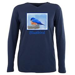 Bluebird on Birdbath Plus Size Long Sleeve Tee