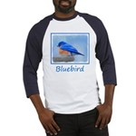 Bluebird on Birdbath Baseball Tee