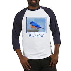 Bluebird on Birdbath Baseball Tee