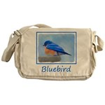 Bluebird on Birdbath Messenger Bag