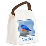 Bluebird on Birdbath Canvas Lunch Bag