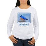 Bluebird on Birdbath Women's Long Sleeve T-Shirt