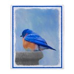 Bluebird on Birdbath Throw Blanket