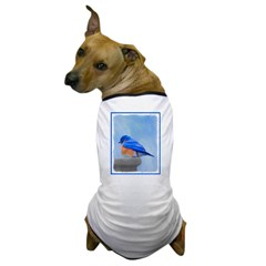 Bluebird on Birdbath Dog T-Shirt