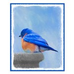 Bluebird on Birdbath Small Poster