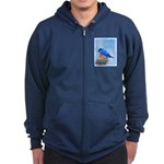 Bluebird on Birdbath Zip Hoodie (dark)