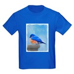 Bluebird on Birdbath Kids Dark T-Shirt
