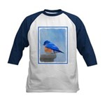 Bluebird on Birdbath Kids Baseball Tee